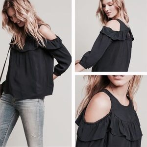 NWT Maeve Black Cold Shoulder Top with Ruffle